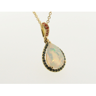 Fiery Opal and Topaz Pendant, 18K Yellow Gold