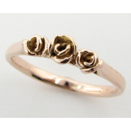 Rose Gold Band, Three Dainty Roses