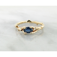 Sapphire Yellow Gold Ring, Gilded Branch