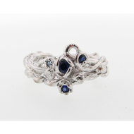 Rose Garden Wedding Set, Sapphire & Sterling Silver