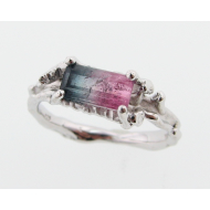 Tourmaline Twig Ring, Sterling Silver