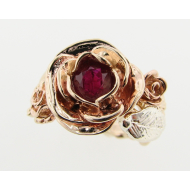 Unfurling Rose, a Ruby Ring in Tri-color Gold