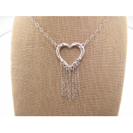 Fringed Heart Necklace, Sterling Silver