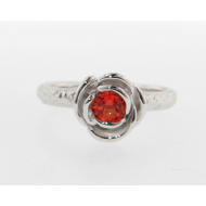 Poppy Topaz Silver Ring, Stacking Solitaire Rose