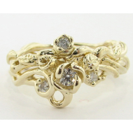 Rose Garden Wedding Set, Yellow Gold & Moissanite
