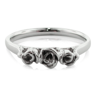 White Gold Band, Three Dainty Roses