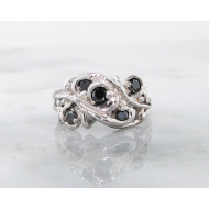 Black Diamond Silver Ring, Swirl