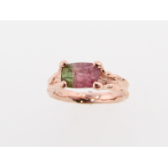 Watermelon Tourmaline Rose Gold Band, Melted Band