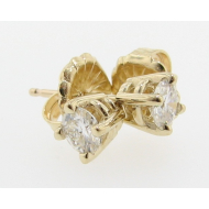 Moissanite Earring Studs, Yellow Gold