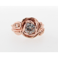 Large Tea Rose Wedding Set, Moissanite & Rose Gold