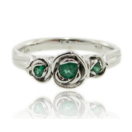 Emerald Silver Ring, Three Roses