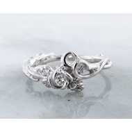 Diamond Silver Ring Rose, Garden, Three Stone