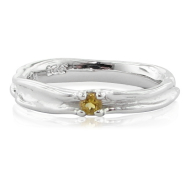 Skinny Melted Band with Citrine, Sterling Silver
