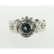 Victorian Ring a la Rose: London Blue & Sterling Silver