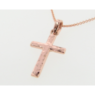 Hammered Cross Pendant, Rose Gold