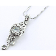 Rose Cascade Pendant, White Gold & Diamond
