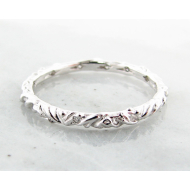 Diamond White Gold Band, Textural, Eternity