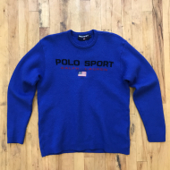Vintage Spell Out Polo Sport Sweater MD