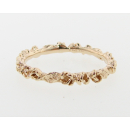 Rosebud & Leaf Band, Yellow Gold
