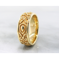 22K Yellow Gold Ring, Men's Band, Morocco