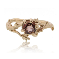 Gold Twig Ring with Moscato Sapphire
