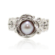 Victorian Pearl Ring a la Rose, Sterling Silver