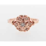 Bisnonna Wedding Set, Rose Gold & Cognac & White Diamonds