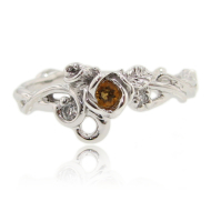 Rose Garden ring with Citrine & Diamonds, Sterling Silver