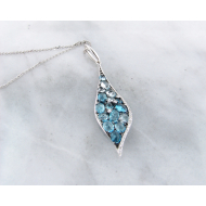 Blue Topaz White Gold Multi-Stone Necklace