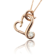 Flutter Heart Necklace, Rose Gold & Diamond