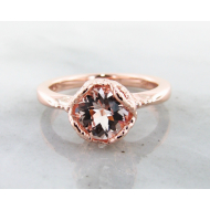Morganite Rose Gold Ring, Lace Bezel