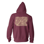 Easton Map Zip Hoody Burgundy