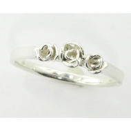 Three Dainty Roses Ring, Sterling