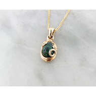 Black Opal Yellow Gold Necklace, Teardrop Swirl