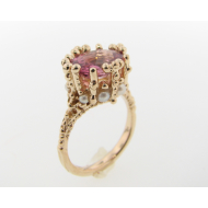 Yellow Gold Ring, Tourmaline, Pearl, Princess