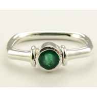 Almost Square, Large Emerald & Sterling Silver