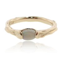 Opal Yellow Gold Band, Skinny Melted