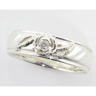Rose Milgrain Wedding Band, Sterling Silver