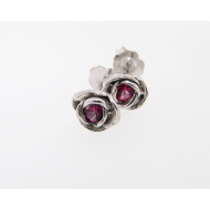 Petite Rose Earrings, Pink Topaz & Sterling Silver
