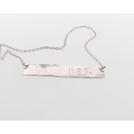 MRS. Hammered Tag Necklace, Sterling Silver