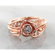 Diamond Rose Gold Wedding Set, Prize Tea Rose