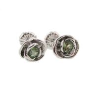 Petite Rose Earrings, Peridot & Silver