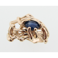 Blue Sapphire, Yellow Gold Ring, Nest