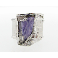 Charoite in Silver Silk Ring with Diamonds