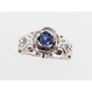 Lab Created Tanzanite and Silver Ring, Victorian, a al Rose