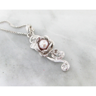 Pink Pearl Silver Pendant, Rose Cascade