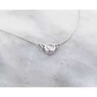 Diamond White Gold Station Necklace, 0.18ct Solitaire