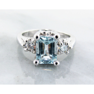 Aquamarine Silver Ring, Moissanite, Old Paris