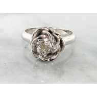Old Euro Cut Diamond White Gold Ring, Midsummer Rose