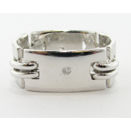 Men's Art Deco Wedding Band, Sterling Silver & Dia